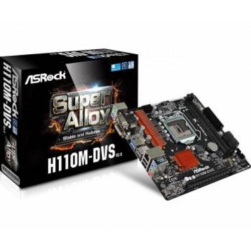 Материнская плата Asrock H110M-DVS R3.0 Soc-1151 Intel H110 2xDDR4 mATX AC`97 8ch(7.1) GbLAN+VGA+DVI