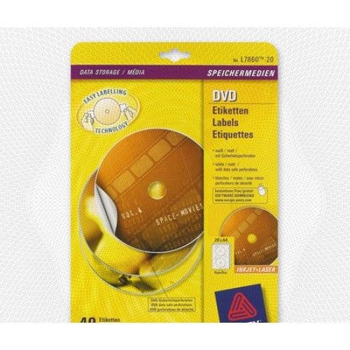 Этикетки для CD серебристые Avery Zweckform , A4, 10л, 117мм (8777-10)