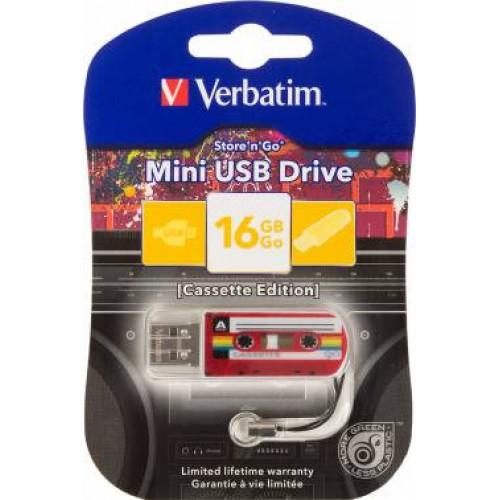 Память Flash USB 16ГБ Verbatim Mini Cassette Edition (49398) красный/рисунок