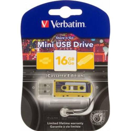 Память Flash USB 16ГБ Verbatim Mini Cassette Edition (49399) желтый/рисунок