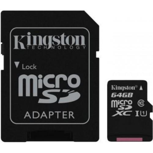 Память Flash Card64ГБ SD-micro Kingston Class10 SDCS/64GB Canvas Select + adapter