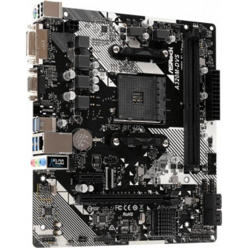 Материнская плата Asrock A320M-DVS R4.0 Soc-AM4 AMD A320 2xDDR4 mATX AC`97 8ch(7.1) GbLAN RAID+VGA+D