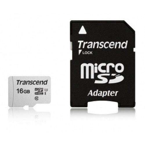 Память Flash Card16ГБ SD-micro Transcend  SDHC class 10 TS16GUSD300S-A + adapter