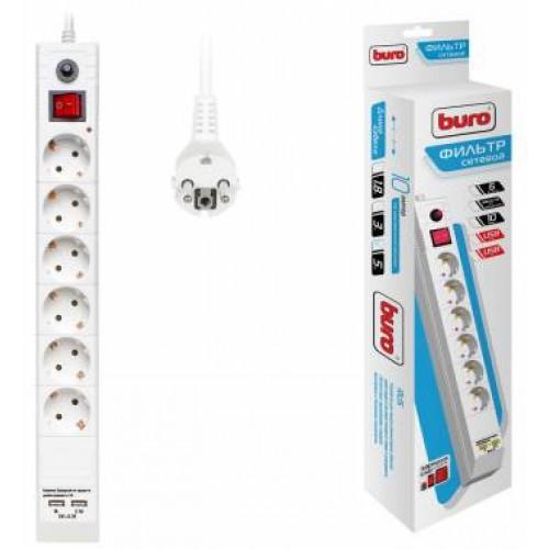 Сетевой фильтр BURO 5м. BU-SP5_USB_2A-W 5м (6 розеток) белый