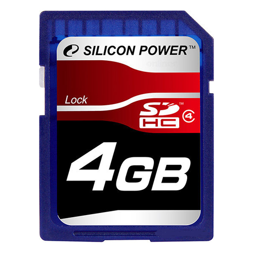Память Flash Card 4ГБ SD Silicon Power Class4 (SP004GBSDH004V10)