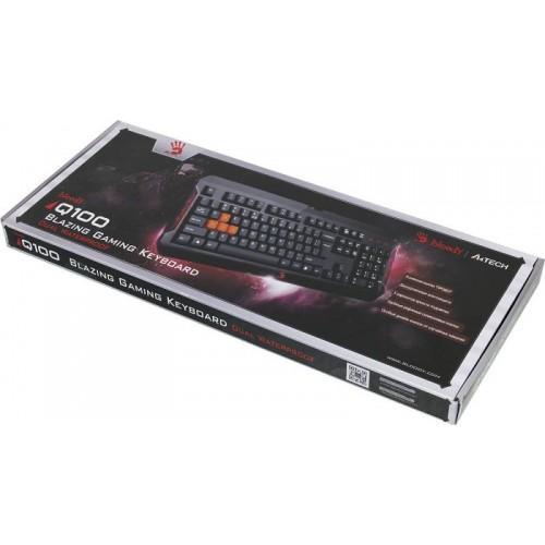 Клавиатура A4 Q100 черный USB Multimedia Gamer LED